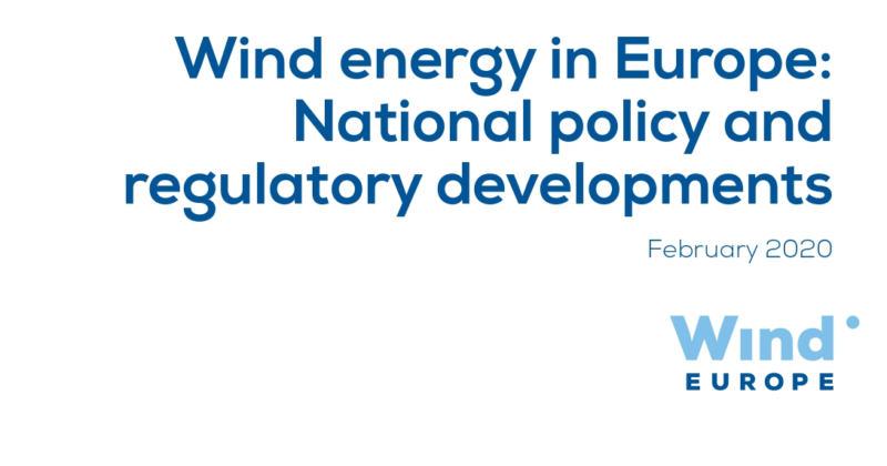 Wind energy in Europe: National Policy and Regulatory Developments (WindEurope, 2020)